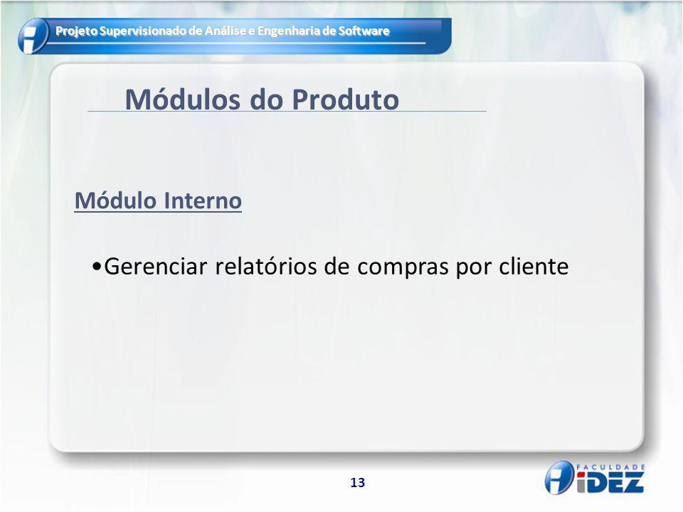 Módulos do Produto Gerenciar relatórios de compras por cliente