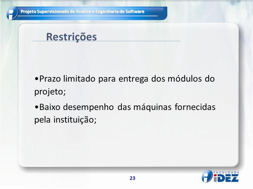 Restrições Prazo limitado para entrega dos módulos do projeto;