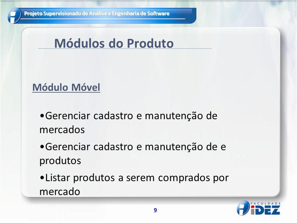 Módulos do Produto Gerenciar cadastro e manutenção de mercados