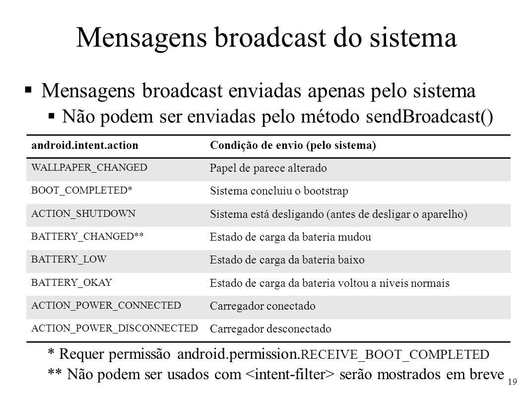 Mensagens broadcast do sistema
