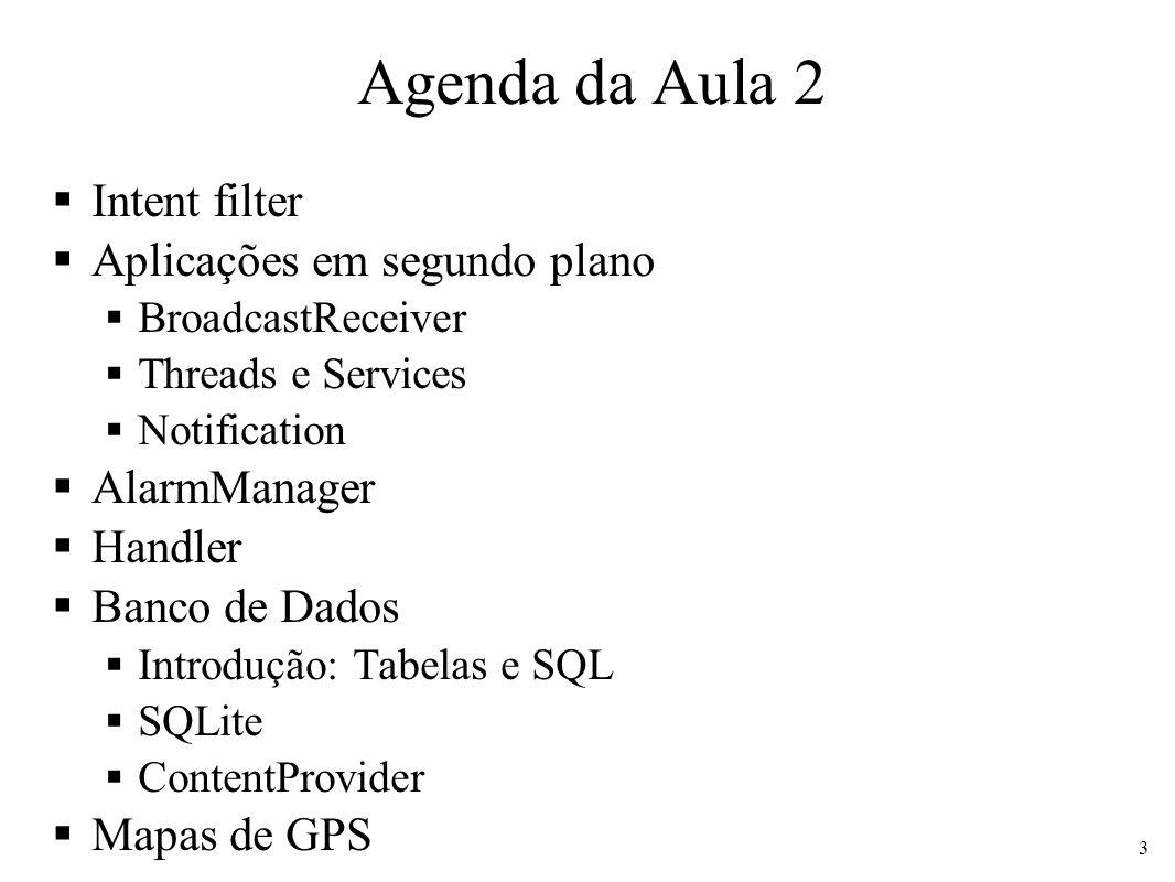 Agenda da Aula 2 Intent filter Aplicações em segundo plano