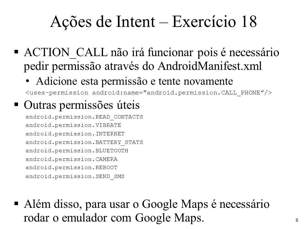 Ações de Intent – Exercício 18