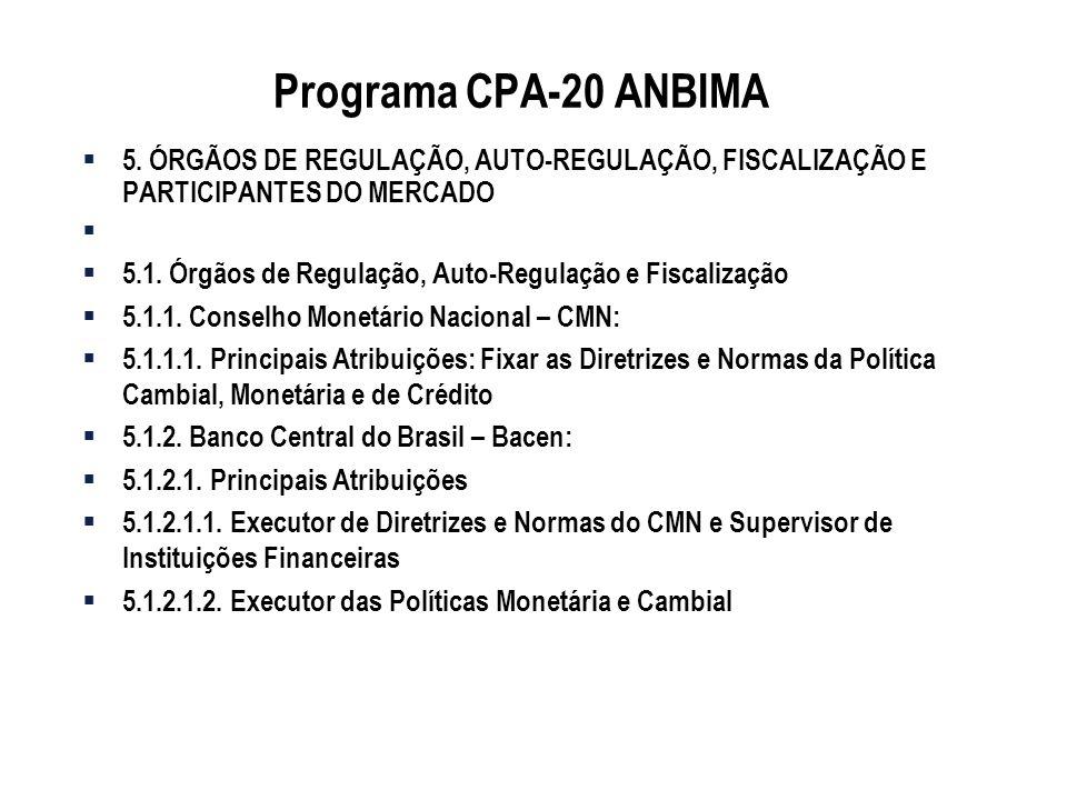 Programa CPA-20 ANBIMA 5. ÓRGÃOS DE REGULAÇÃO, AUTO-REGULAÇÃO, FISCALIZAÇÃO E PARTICIPANTES DO MERCADO.