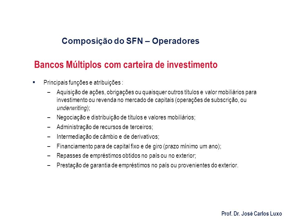 Bancos Múltiplos com carteira de investimento
