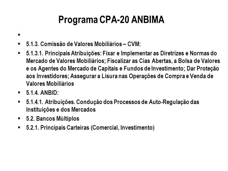 Programa CPA-20 ANBIMA 5.1.3. Comissão de Valores Mobiliários – CVM: