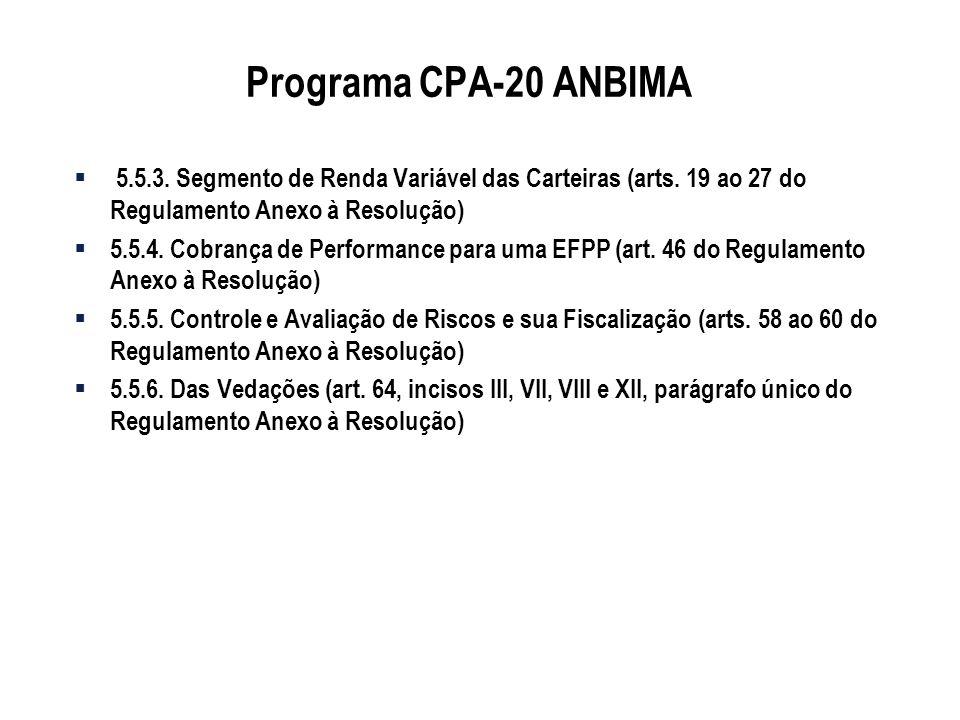 Programa CPA-20 ANBIMA 5.5.3. Segmento de Renda Variável das Carteiras (arts. 19 ao 27 do Regulamento Anexo à Resolução)