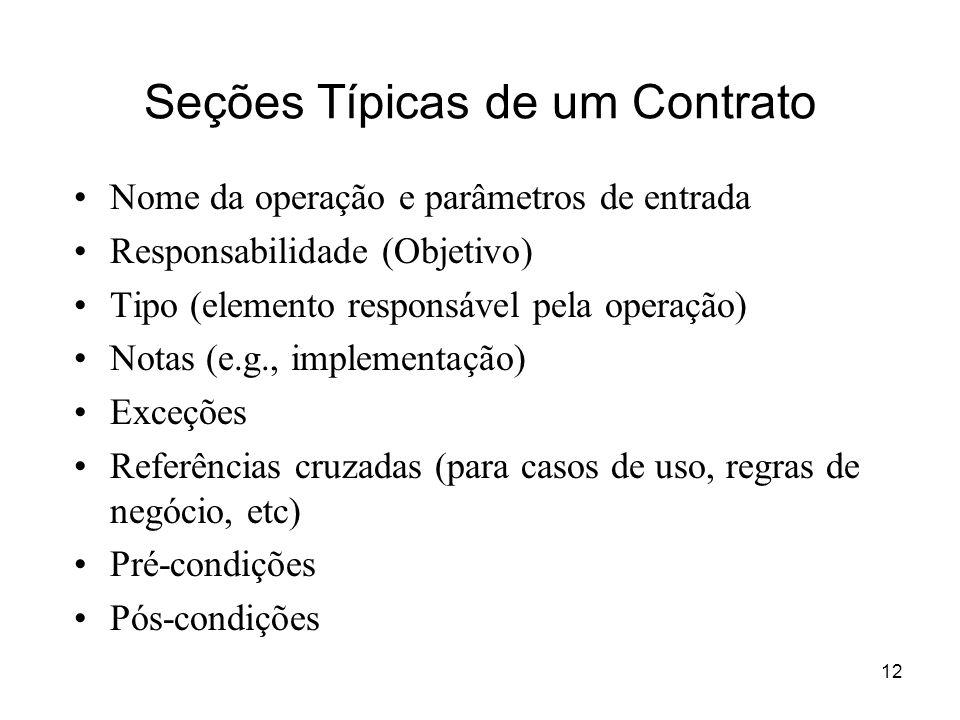 Seções Típicas de um Contrato