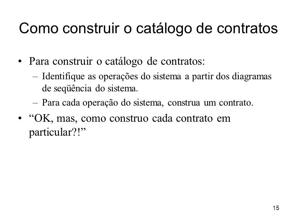 Como construir o catálogo de contratos