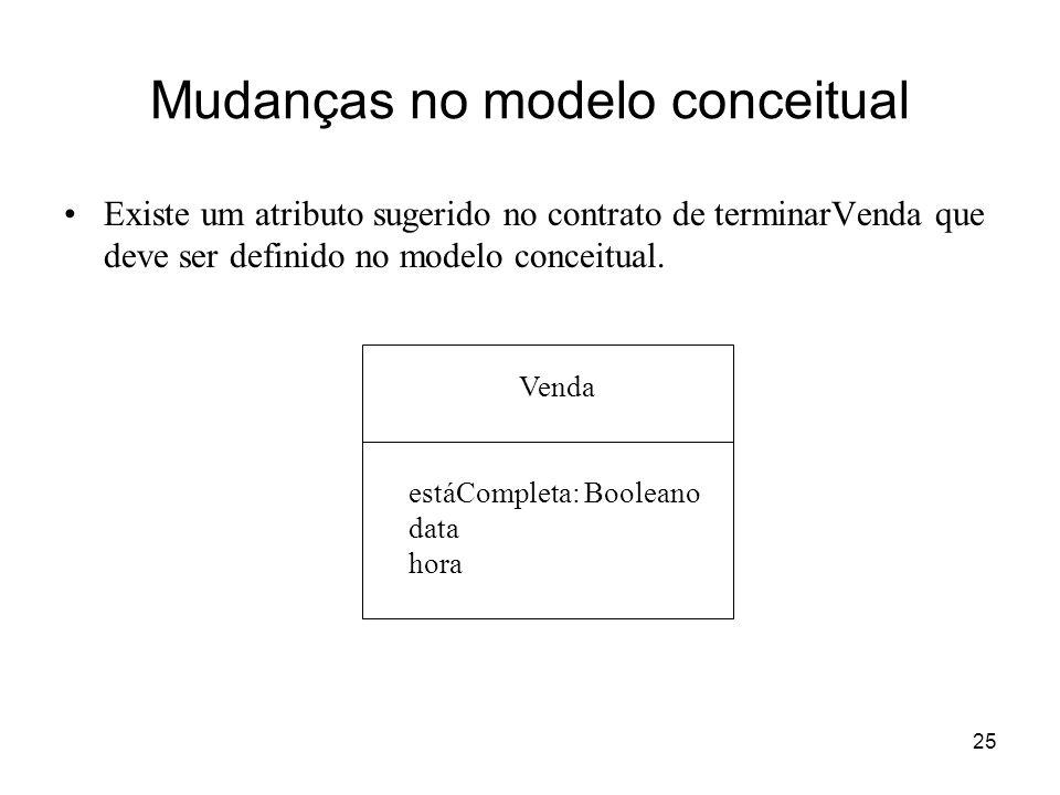 Mudanças no modelo conceitual