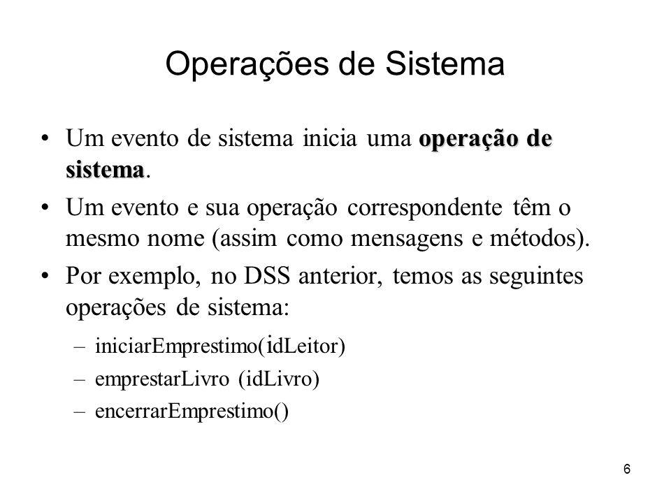 Operações de Sistema Um evento de sistema inicia uma operação de sistema.