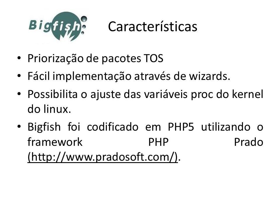 Características Priorização de pacotes TOS. Fácil implementação através de wizards. Possibilita o ajuste das variáveis proc do kernel do linux.