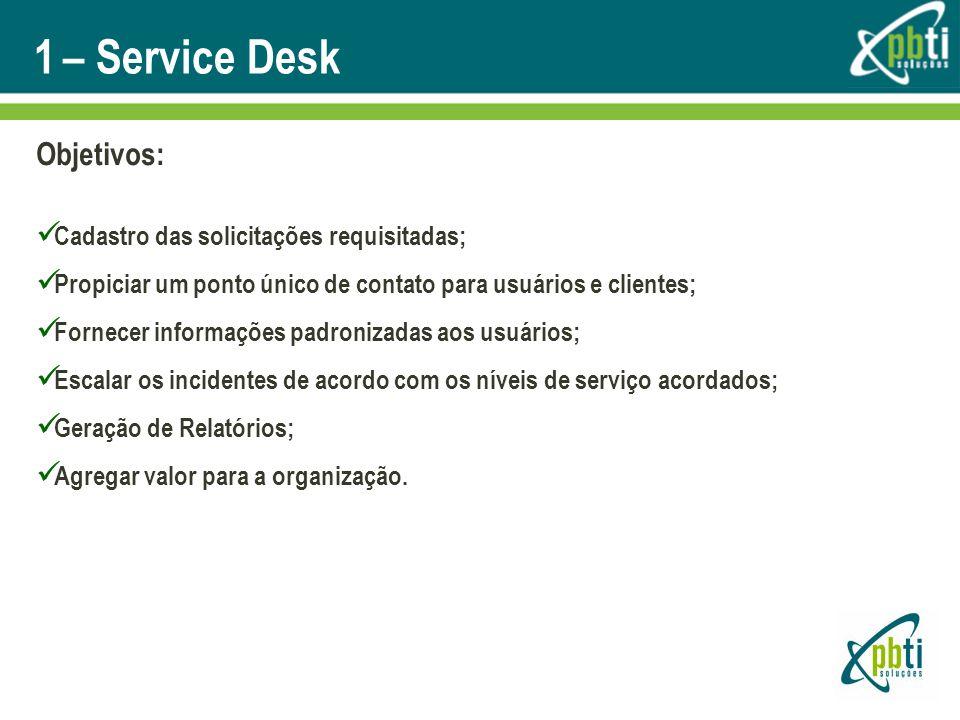 1 – Service Desk Objetivos: Cadastro das solicitações requisitadas;