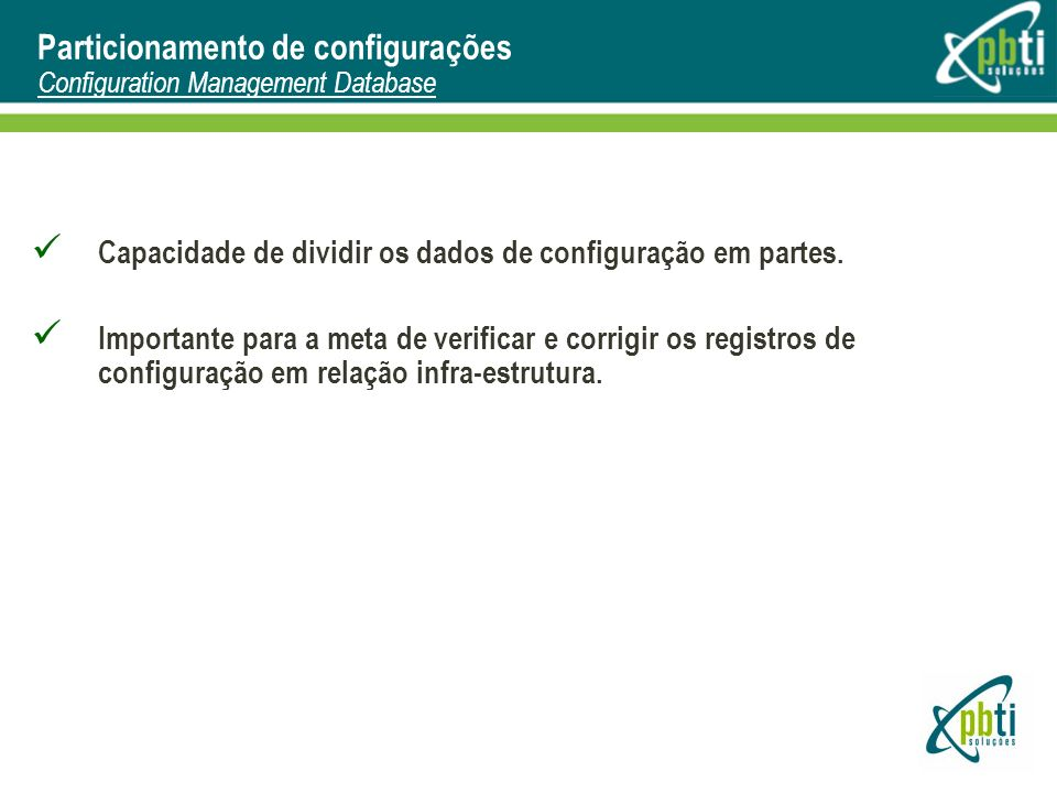Particionamento de configurações Configuration Management Database