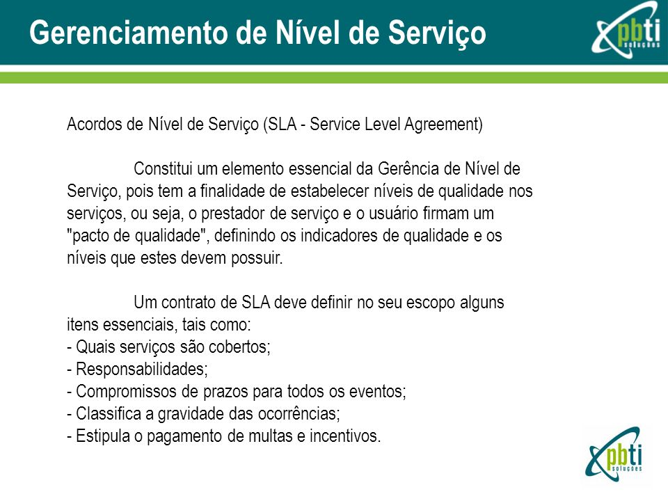 Acordos de Nível de Serviço (SLA - Service Level Agreement)