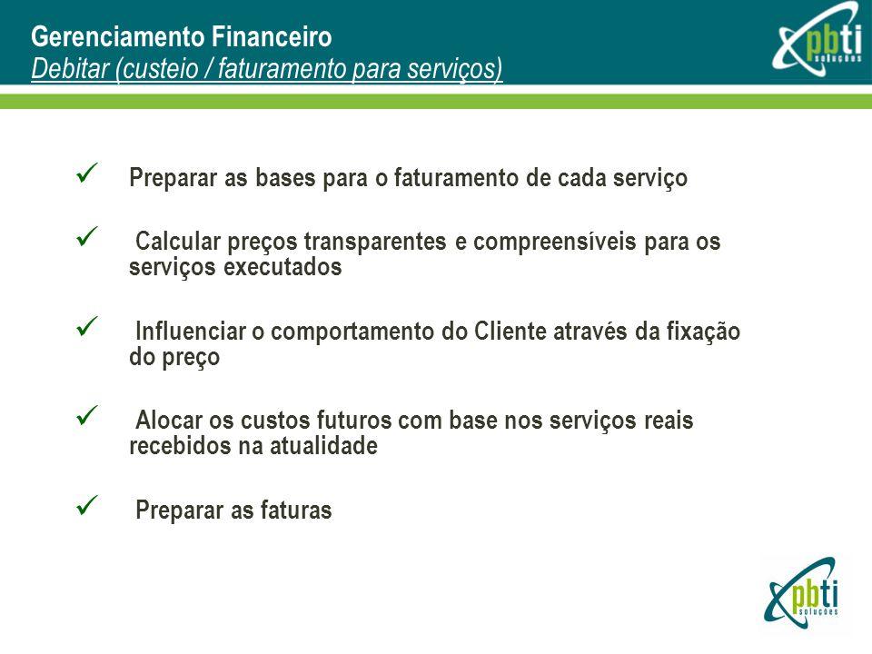 Gerenciamento Financeiro Debitar (custeio / faturamento para serviços)