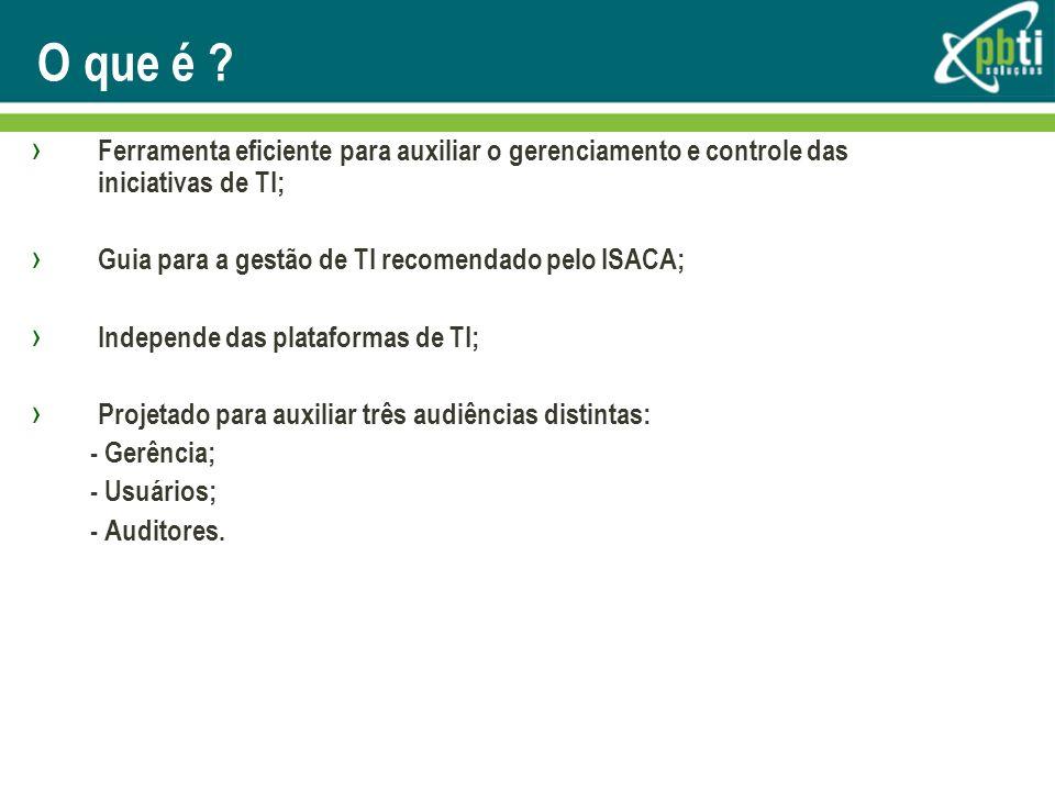 O que é Ferramenta eficiente para auxiliar o gerenciamento e controle das iniciativas de TI; Guia para a gestão de TI recomendado pelo ISACA;