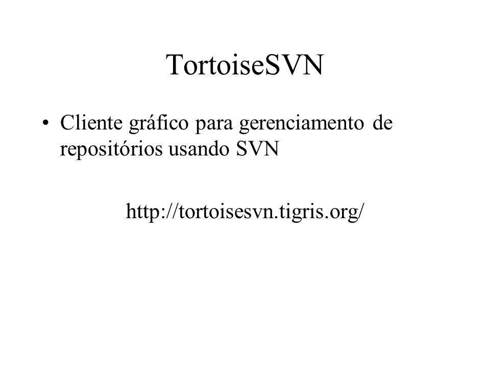 TortoiseSVN Cliente gráfico para gerenciamento de repositórios usando SVN.