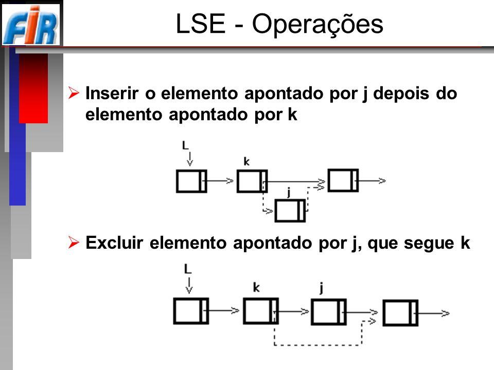 LSE - Operações Inserir o elemento apontado por j depois do elemento apontado por k.