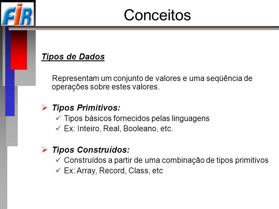 Conceitos Tipos de Dados Tipos Primitivos: Tipos Construídos:
