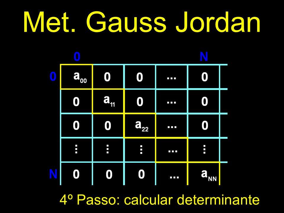 Met. Gauss Jordan 4º Passo: calcular determinante