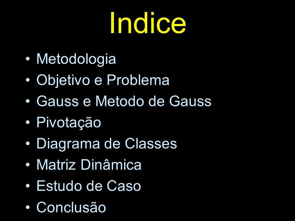 Indice Metodologia Objetivo e Problema Gauss e Metodo de Gauss