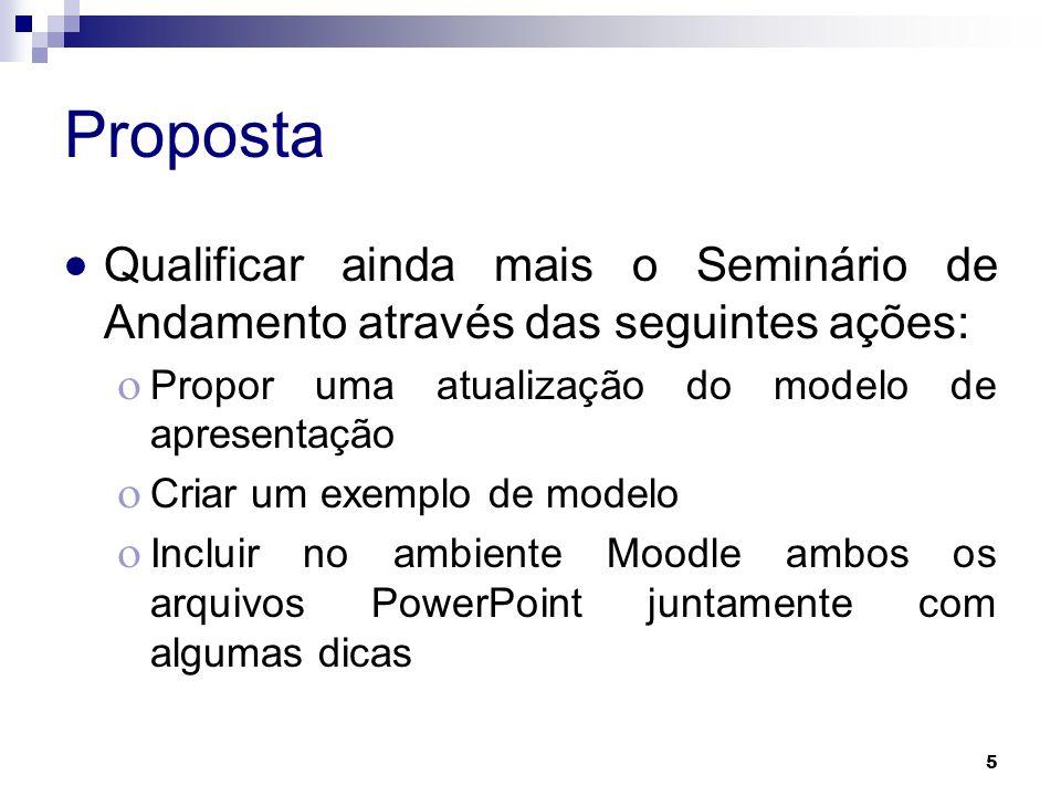 Proposta Qualificar ainda mais o Seminário de Andamento através das seguintes ações: Propor uma atualização do modelo de apresentação.