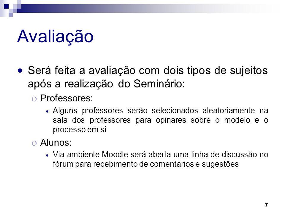 Avaliação Será feita a avaliação com dois tipos de sujeitos após a realização do Seminário: Professores: