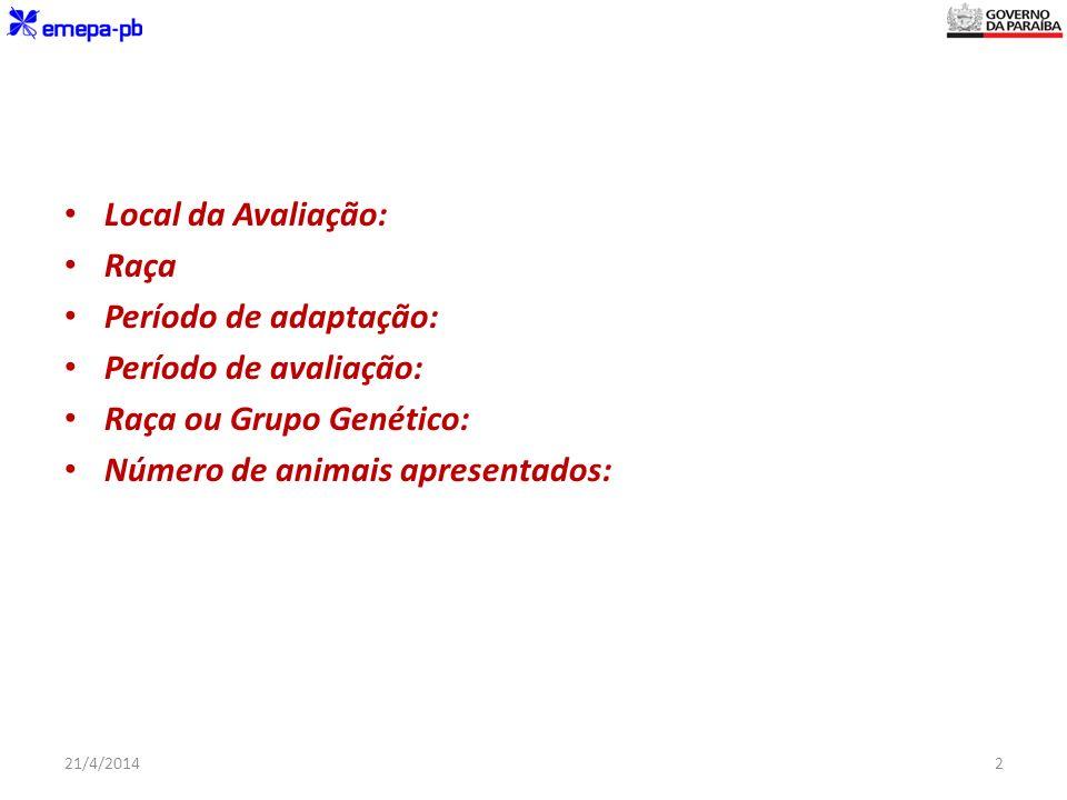 Raça ou Grupo Genético: Número de animais apresentados: