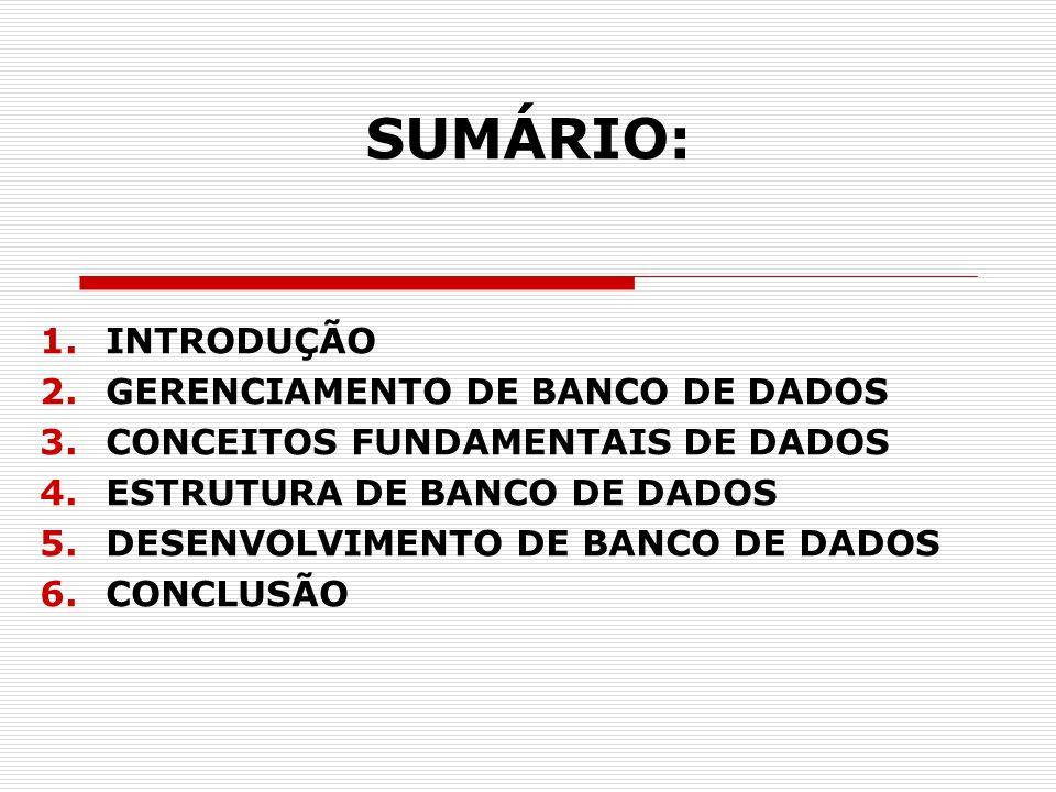 SUMÁRIO: INTRODUÇÃO GERENCIAMENTO DE BANCO DE DADOS