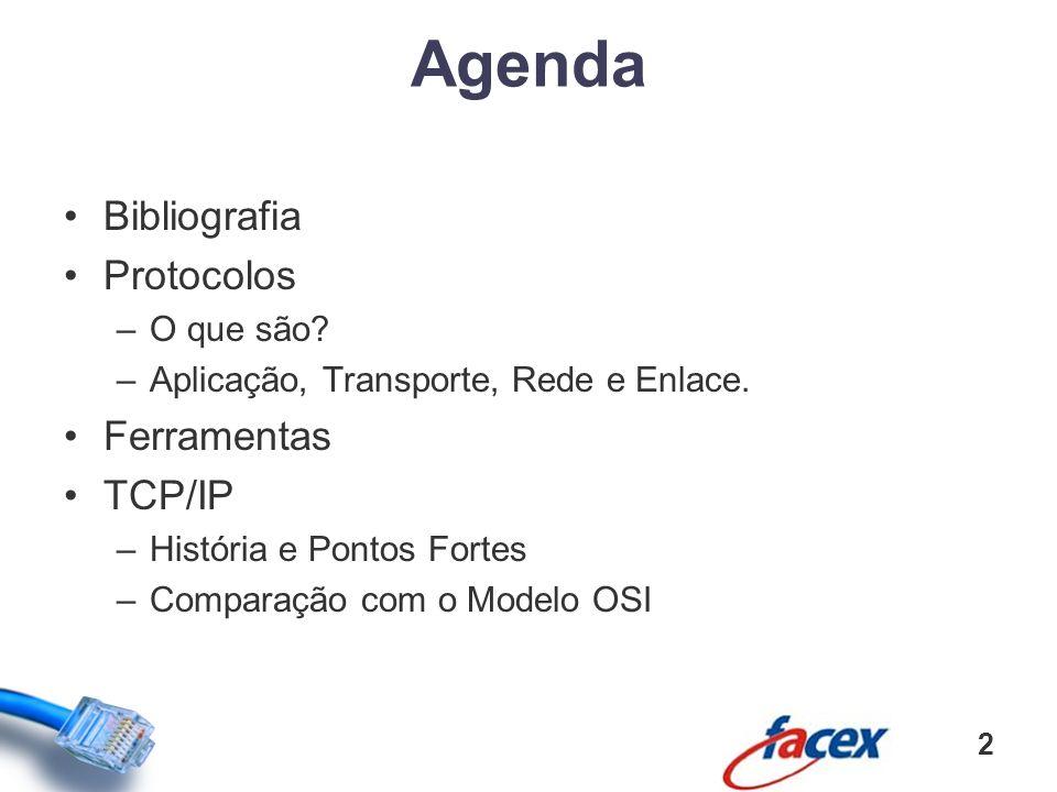 Agenda Bibliografia Protocolos Ferramentas TCP/IP O que são