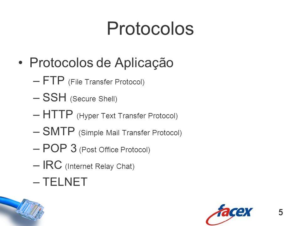 Protocolos Protocolos de Aplicação FTP (File Transfer Protocol)
