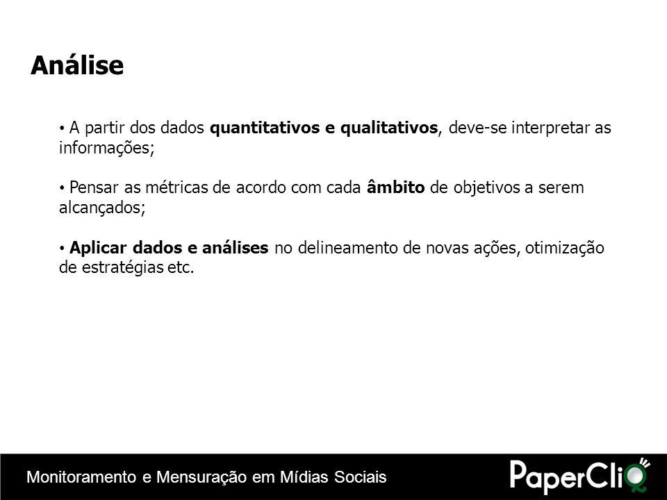 Análise A partir dos dados quantitativos e qualitativos, deve-se interpretar as informações;