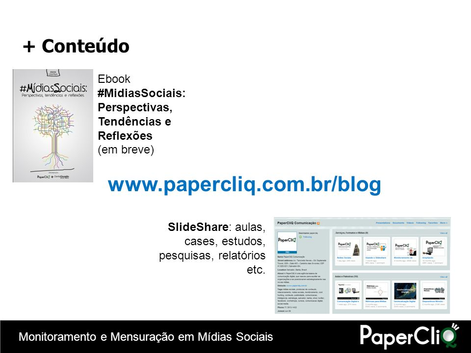 www.papercliq.com.br/blog + Conteúdo