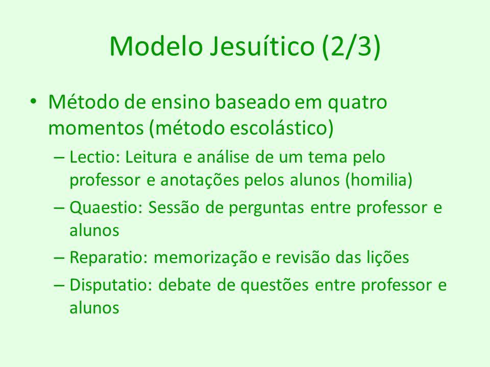 Modelo Jesuítico (2/3) Método de ensino baseado em quatro momentos (método escolástico)
