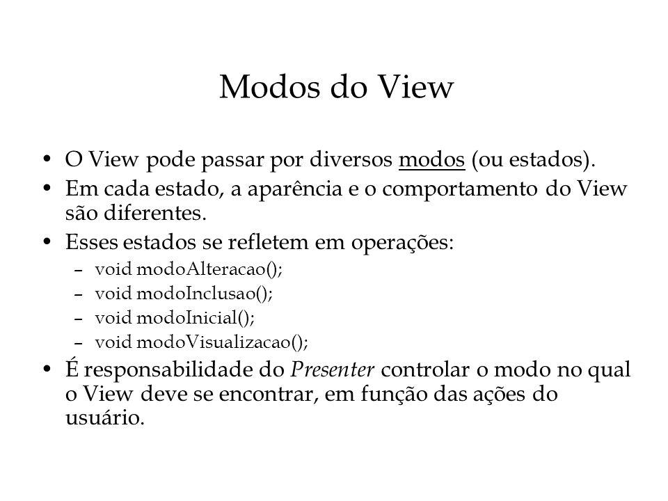 Modos do View O View pode passar por diversos modos (ou estados).
