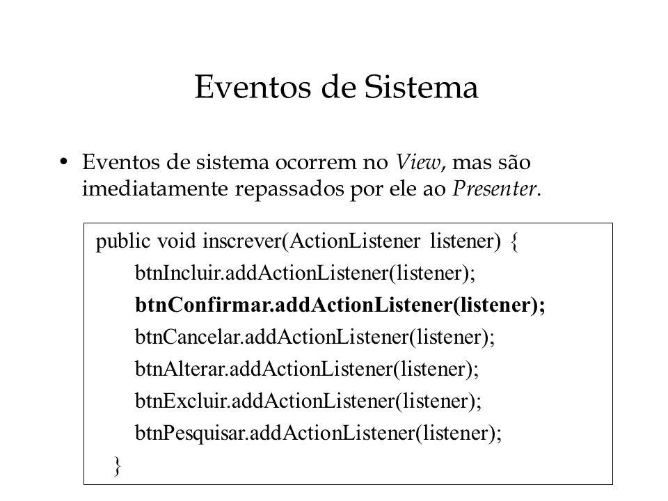 Eventos de Sistema Eventos de sistema ocorrem no View, mas são imediatamente repassados por ele ao Presenter.