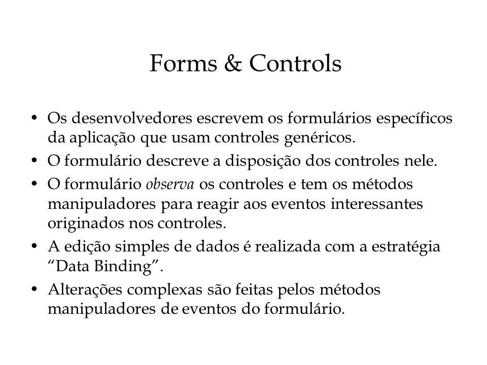 Forms & Controls Os desenvolvedores escrevem os formulários específicos da aplicação que usam controles genéricos.
