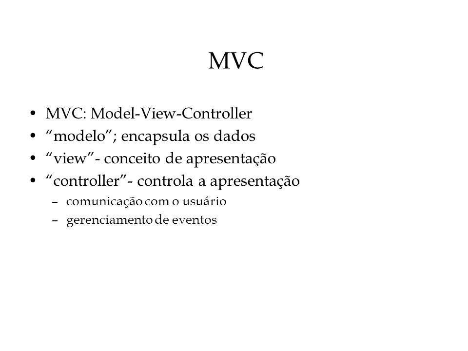 MVC MVC: Model-View-Controller modelo ; encapsula os dados