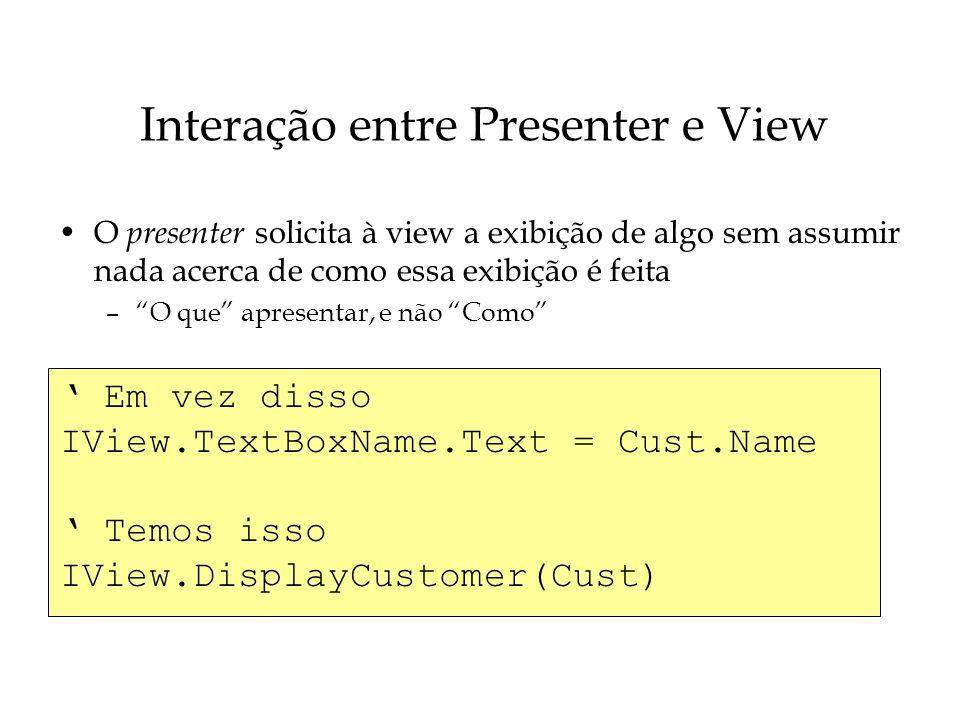Interação entre Presenter e View