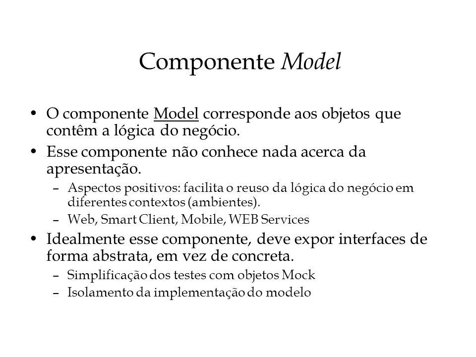 Componente Model O componente Model corresponde aos objetos que contêm a lógica do negócio. Esse componente não conhece nada acerca da apresentação.