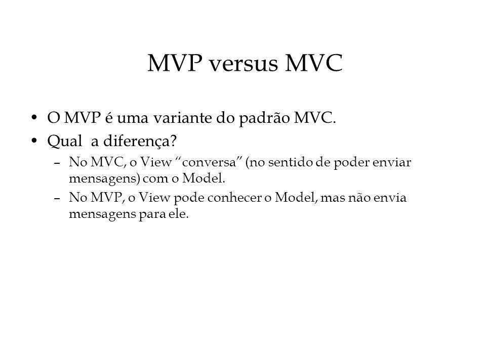 MVP versus MVC O MVP é uma variante do padrão MVC. Qual a diferença