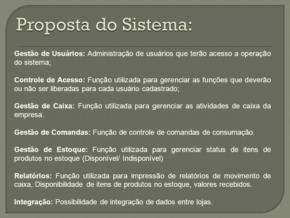 Proposta do Sistema: Gestão de Usuários: Administração de usuários que terão acesso a operação do sistema;