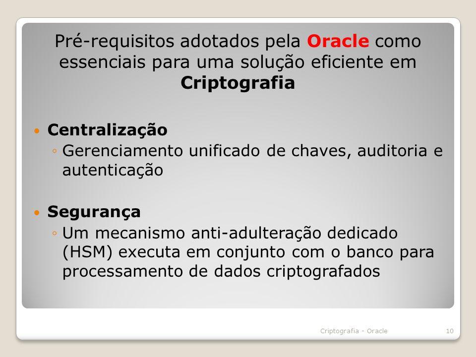Pré-requisitos adotados pela Oracle como essenciais para uma solução eficiente em Criptografia