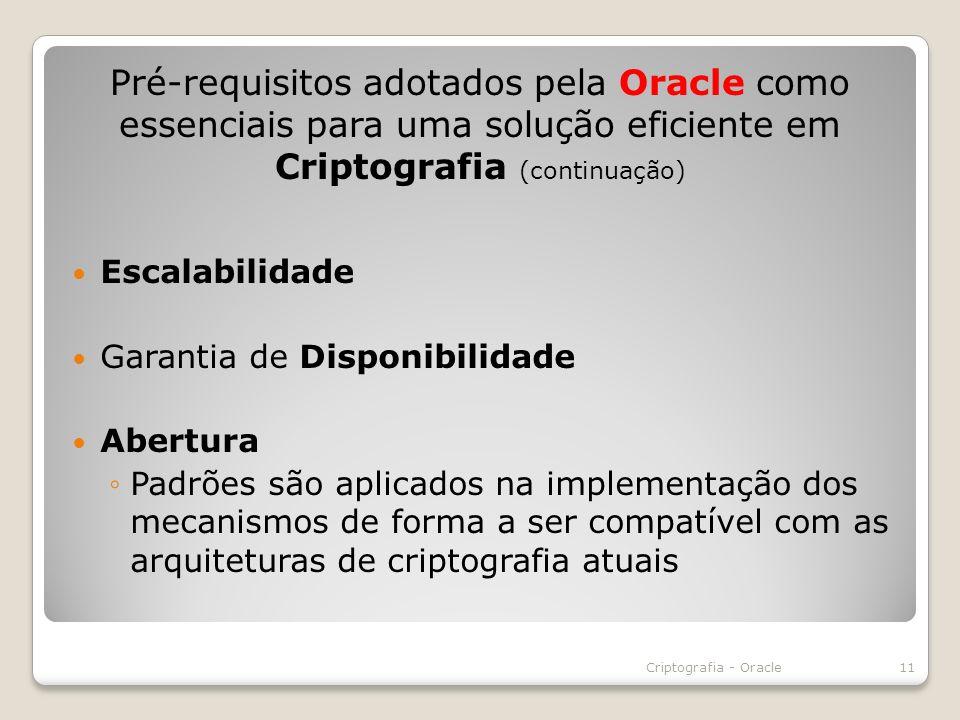 Pré-requisitos adotados pela Oracle como essenciais para uma solução eficiente em Criptografia (continuação)