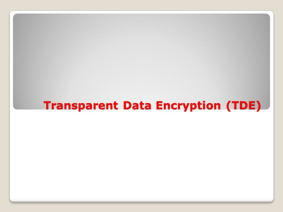 Transparent Data Encryption (TDE)
