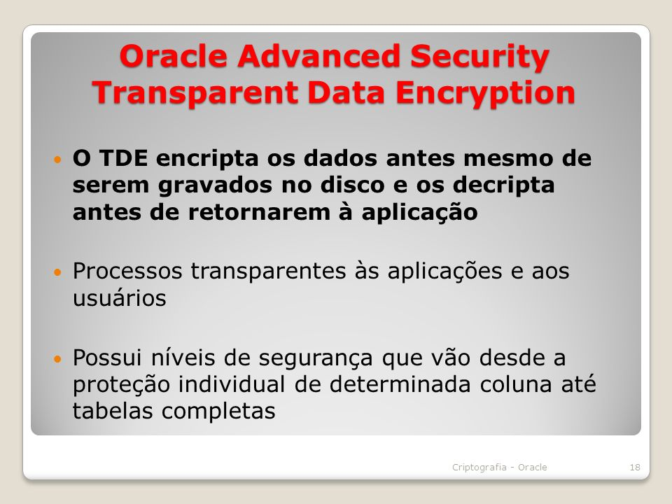 Oracle Advanced Security Transparent Data Encryption