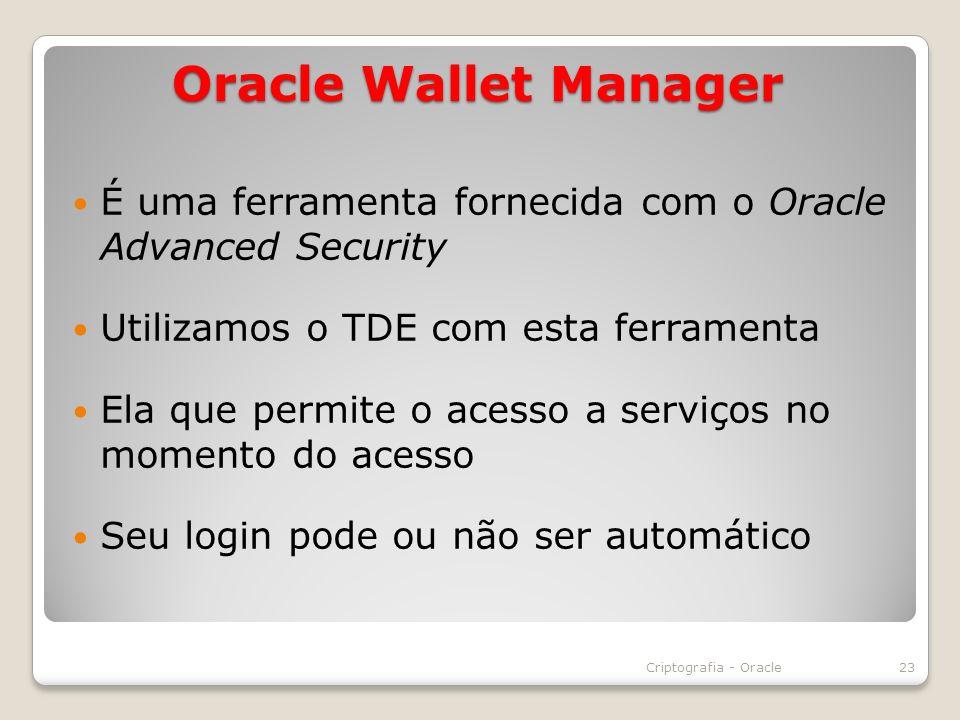 Oracle Wallet Manager É uma ferramenta fornecida com o Oracle Advanced Security. Utilizamos o TDE com esta ferramenta.