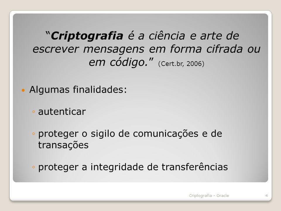 Criptografia é a ciência e arte de escrever mensagens em forma cifrada ou em código. (Cert.br, 2006)