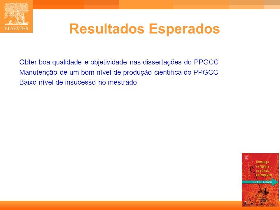 Resultados Esperados Obter boa qualidade e objetividade nas dissertações do PPGCC. Manutenção de um bom nível de produção científica do PPGCC.