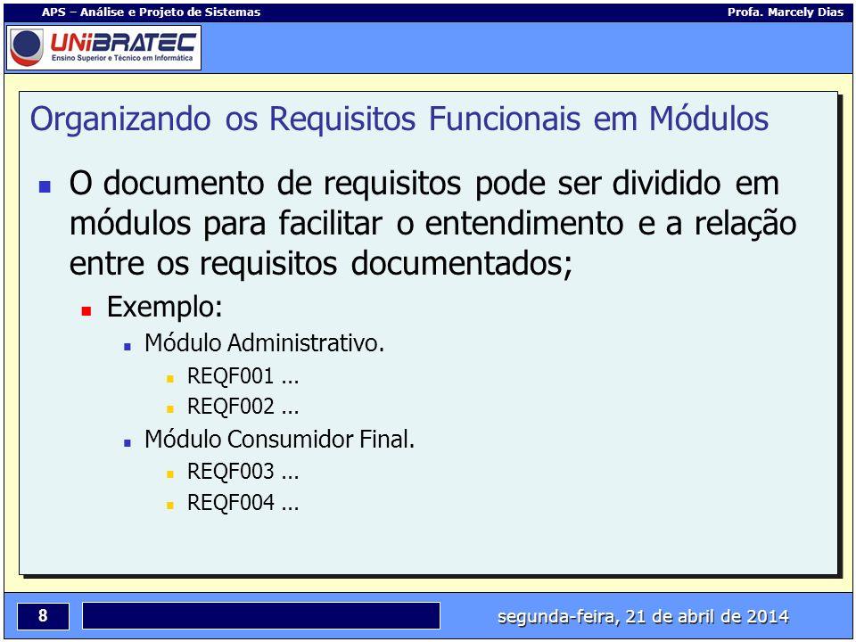 Organizando os Requisitos Funcionais em Módulos